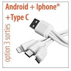 CABLE 3 SORTIES : IPHONE 5/6/7 - ANDROID - TYPE C